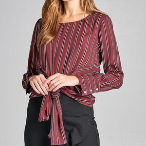 Tops - PLUM LONG SLEEVE ROUND NECK FRONT SELF TIED STRIPE